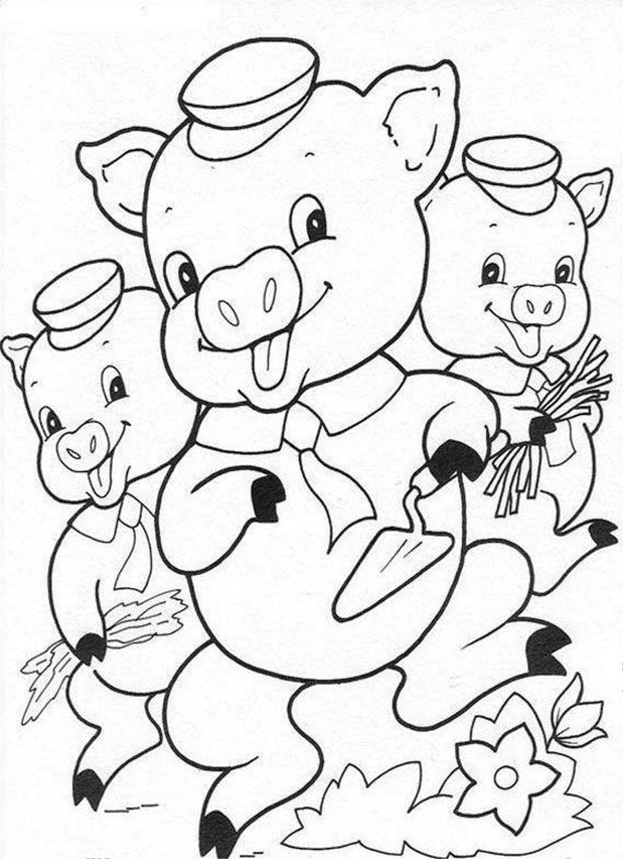 Coloring pages 3 little pigs - Baby Pig Coloring Sheets
