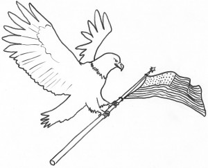 Bald Eagle and Flag Coloring Page