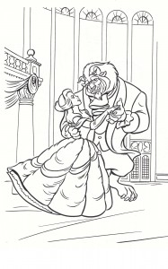 Beauty and the Beast free Coloring Page Printable