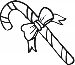 Candy Cane With Bow Coloring Page