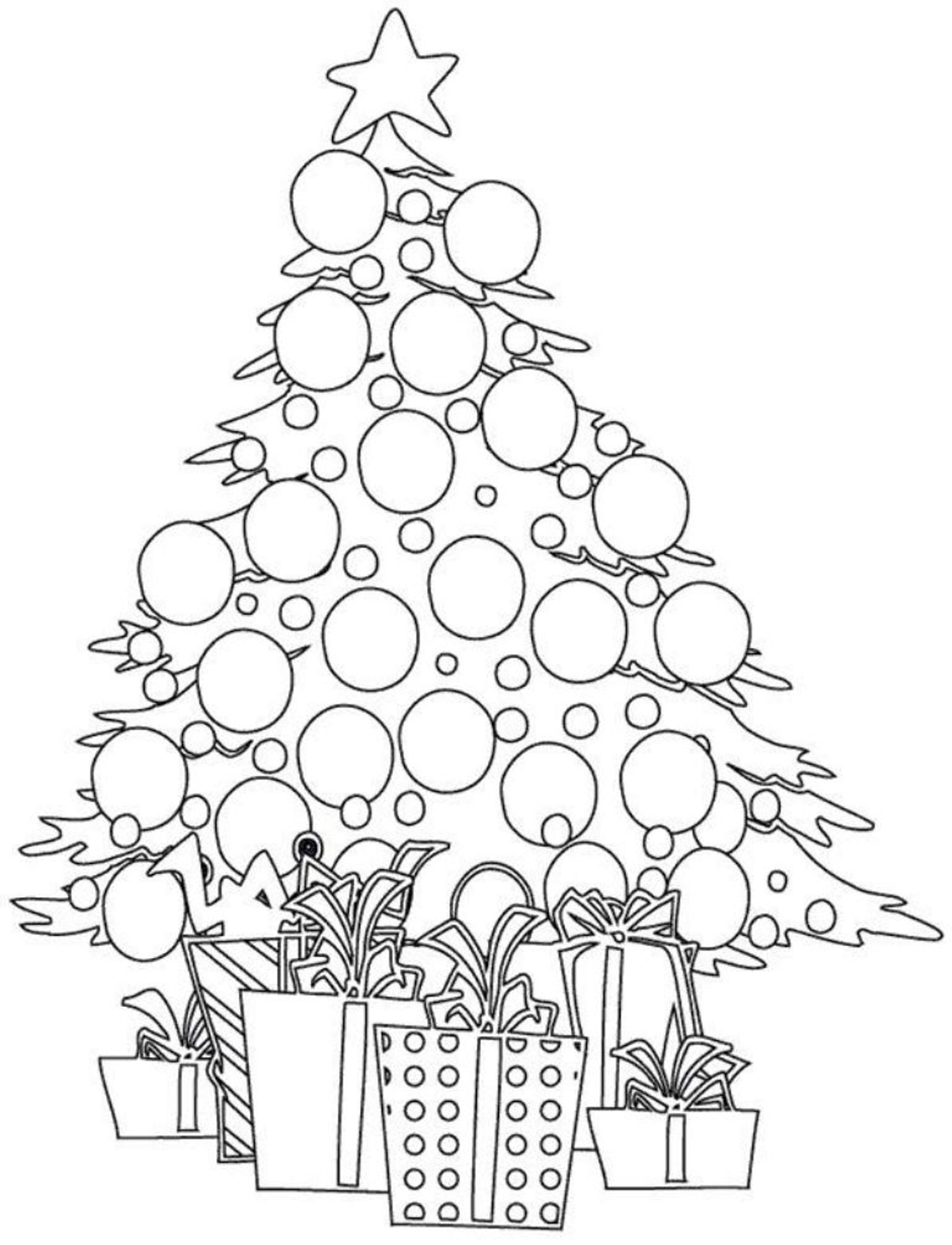 Kids coloring pages christmas trees printable - Christmas Tree Balls Coloring Pages