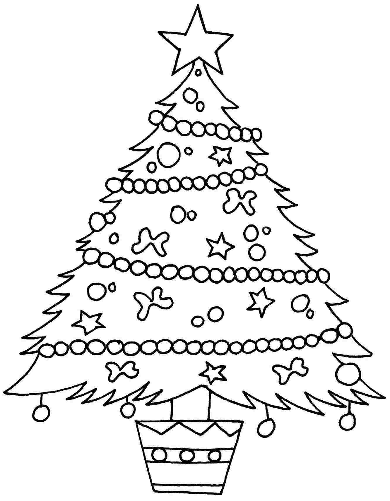 Kids coloring pages christmas trees printable - Christmas Trees Coloring Pages