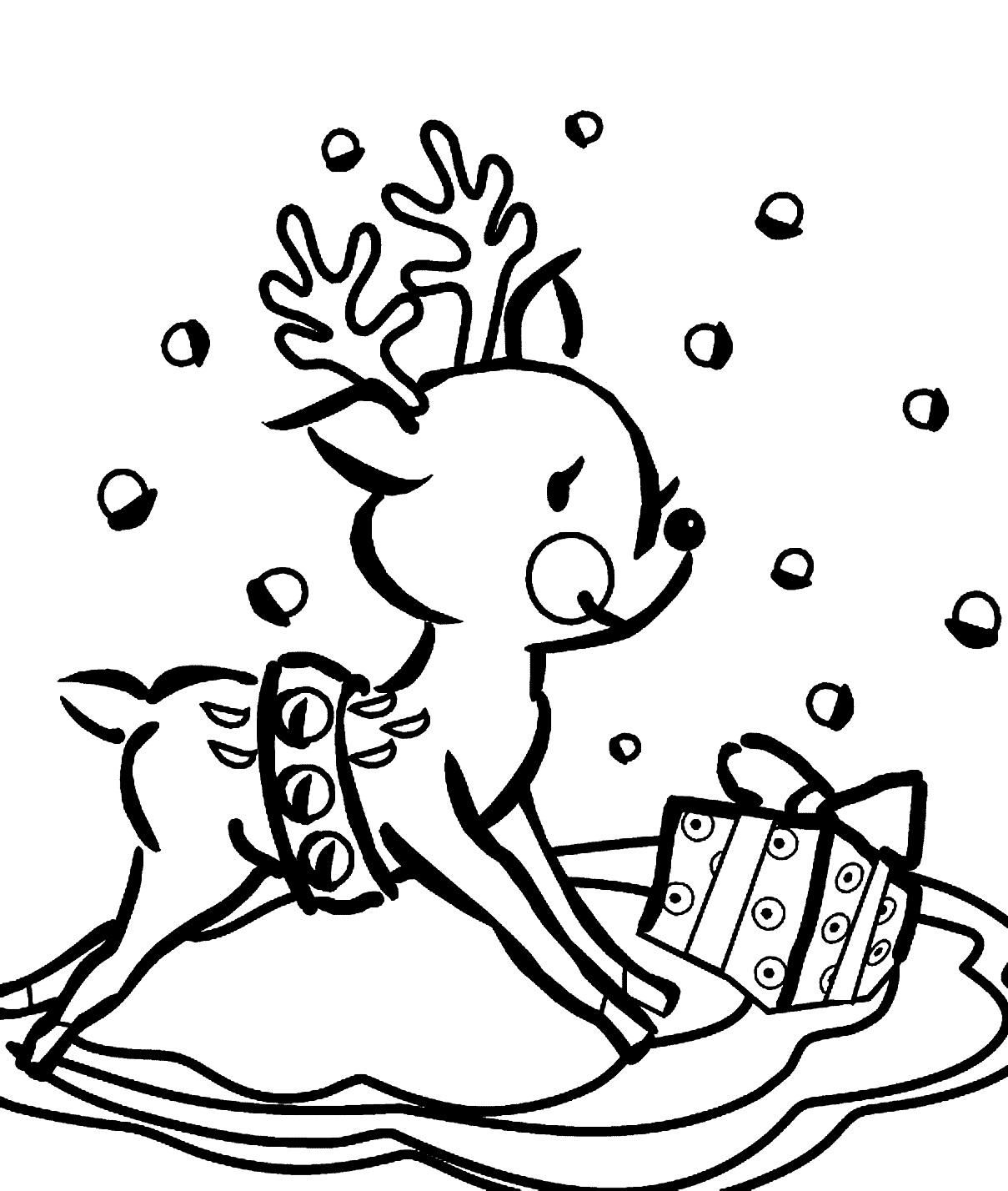 Cute Reindeer Coloring Sheets
