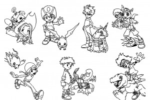 Digimon Characters Coloring Page