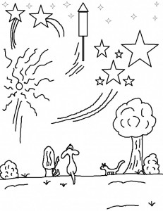 Fireworks Coloring Page Printable