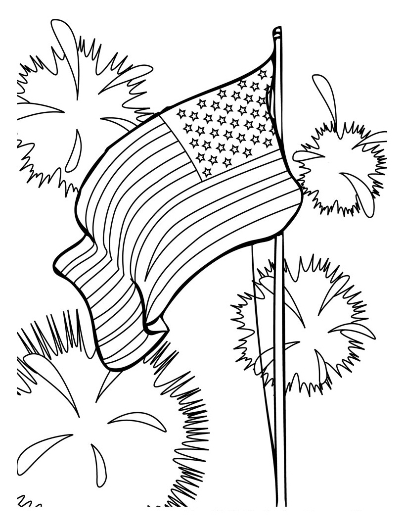 fireworks coloring pages 4th july - Fireworks Coloring Pages