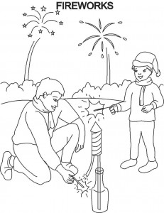 Fireworks Coloring Pages Free