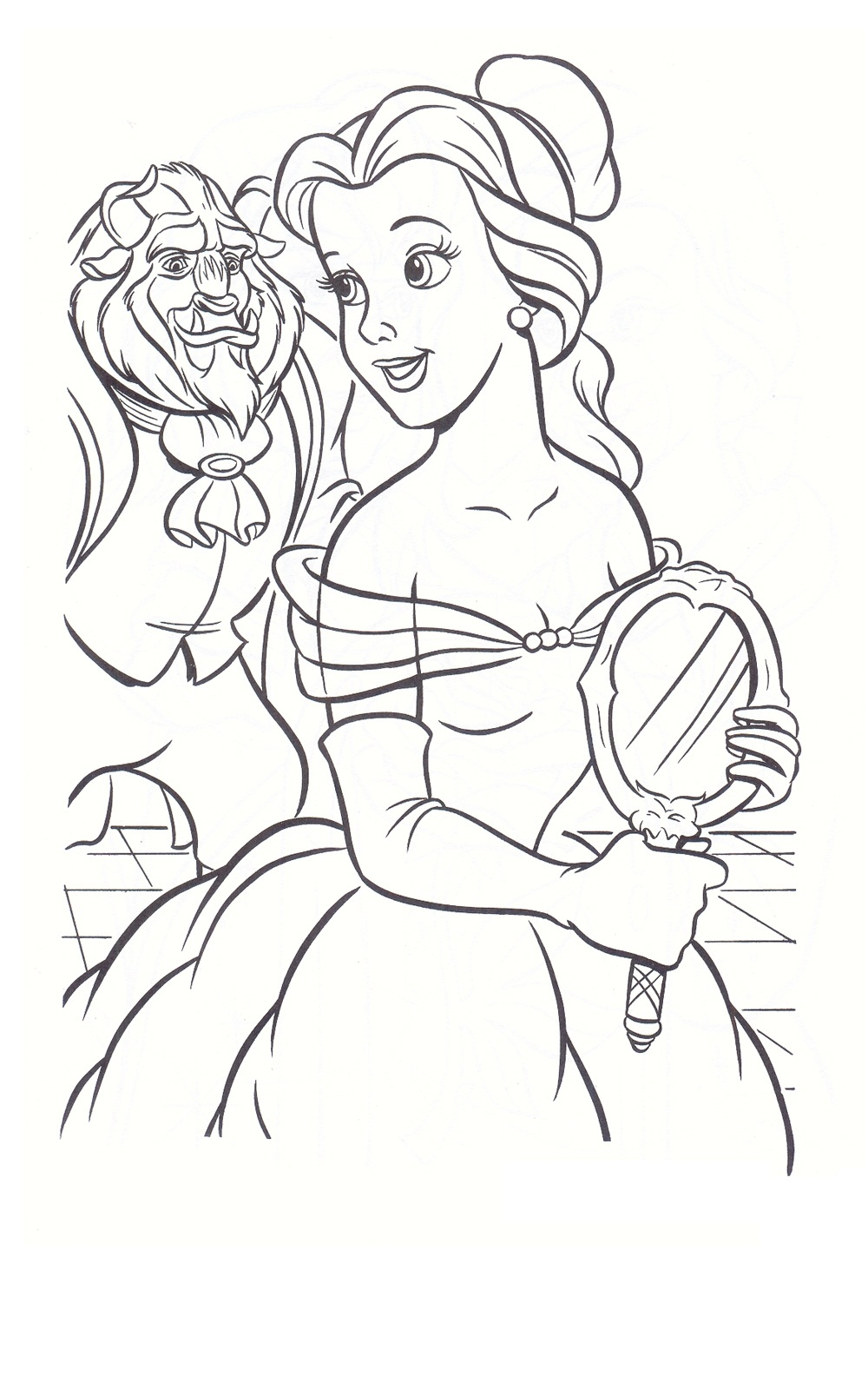 Beauty and the beast rose stained glass coloring page for Beauty and the beast coloring pages disney