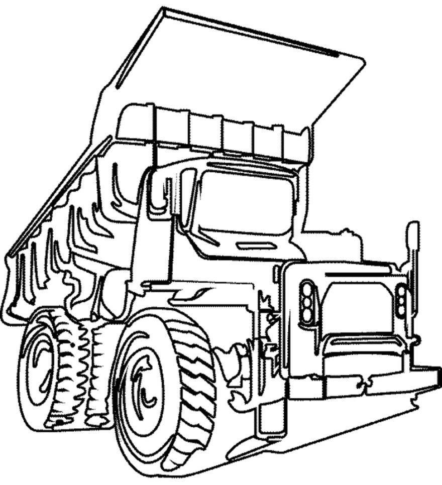Dump Truck Coloring For Preschoolers Pages