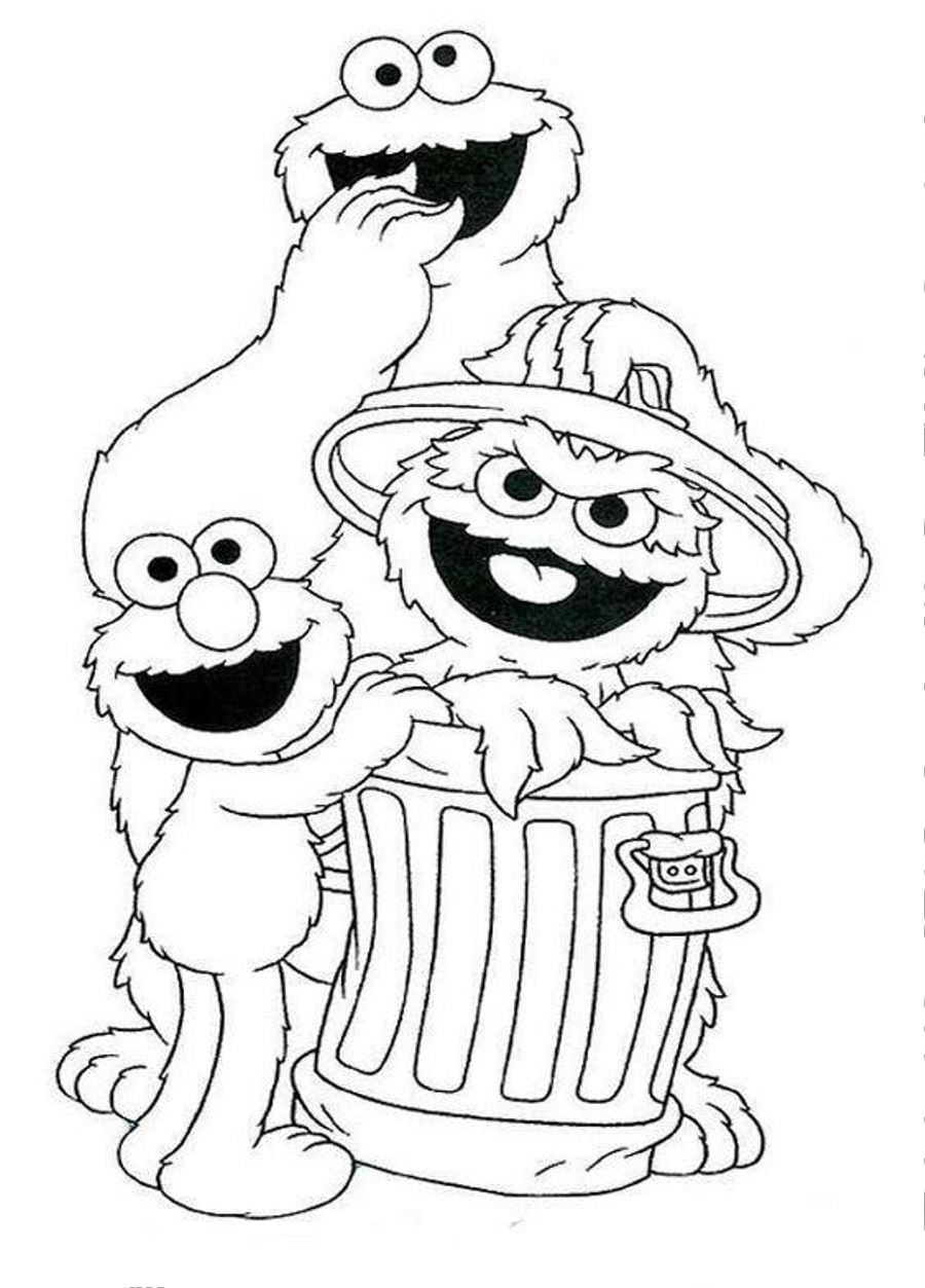 Free coloring pages of sesame street faces for Sesame street color pages
