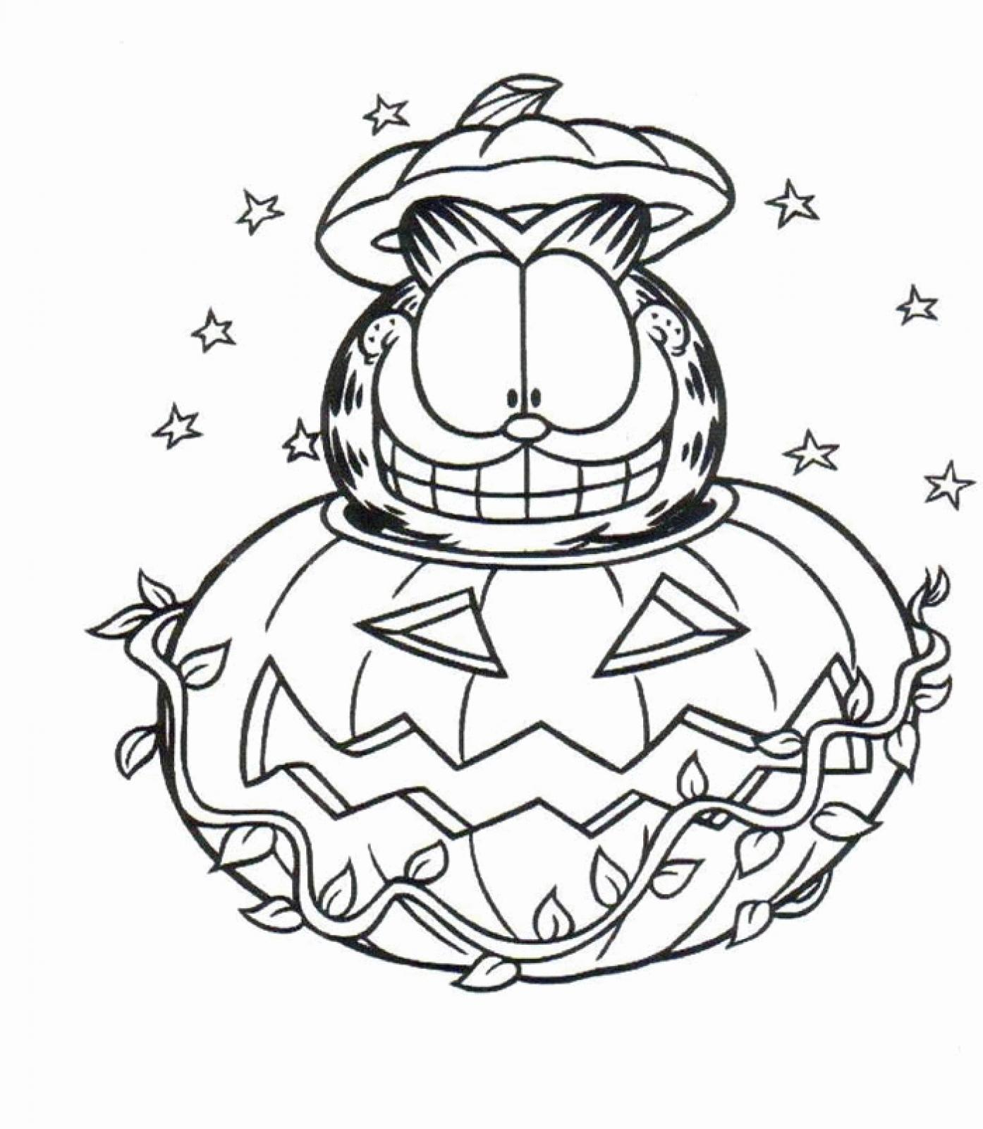 Garfield Halloween Coloring Pages  simonschoolblogcom