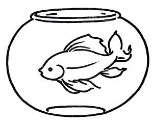 Goldfish Bowl Coloring Page