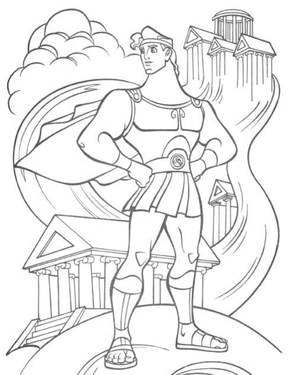 Hercules and dragon coloring pages for kids, printable free | 1191x943