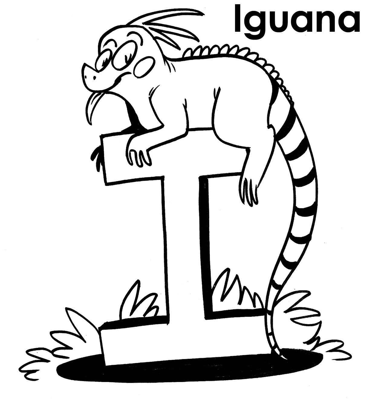 Iguana free colouring pages for Iguana coloring pages
