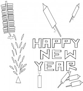 New Years Eve Fireworks Coloring Pages