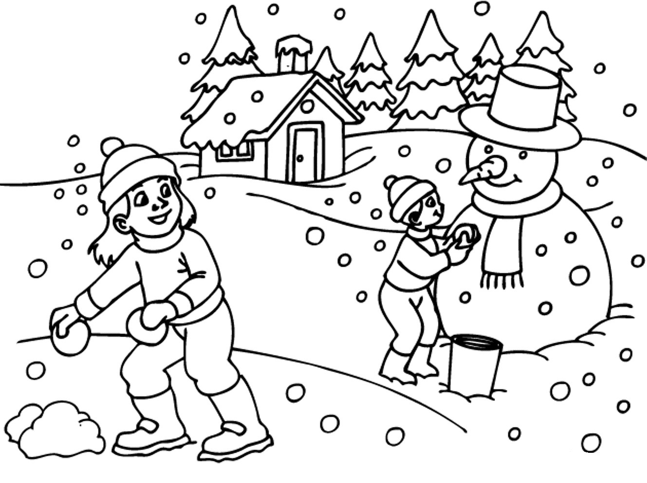 Snowman Coloring Page Winter Pages Pinterest 1000 Images
