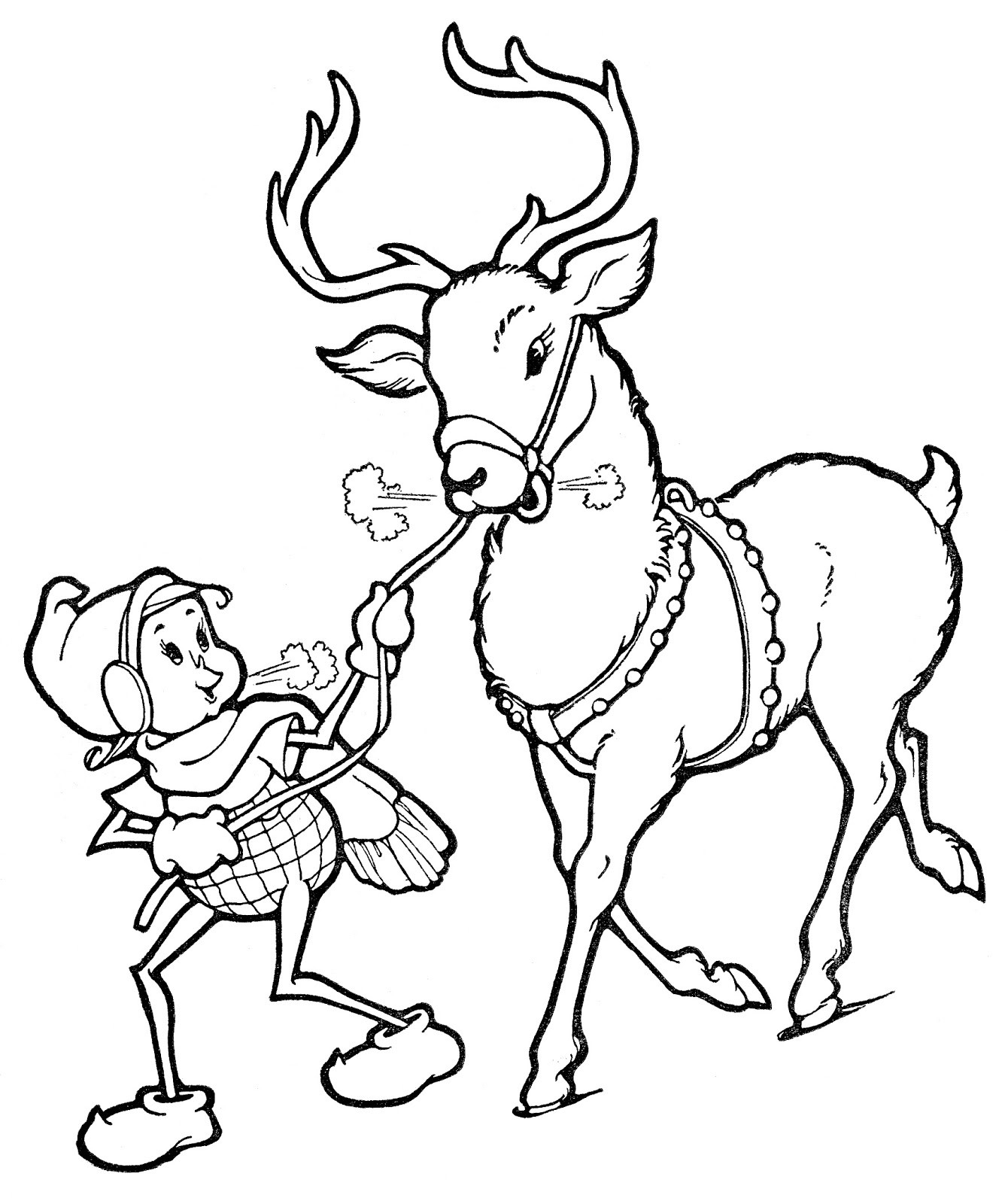 Reindeer Christmas Coloring Pages