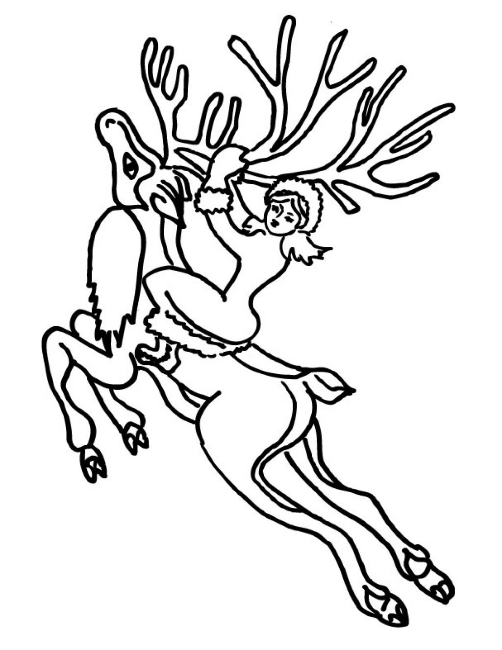 realistic reindeer coloring pages