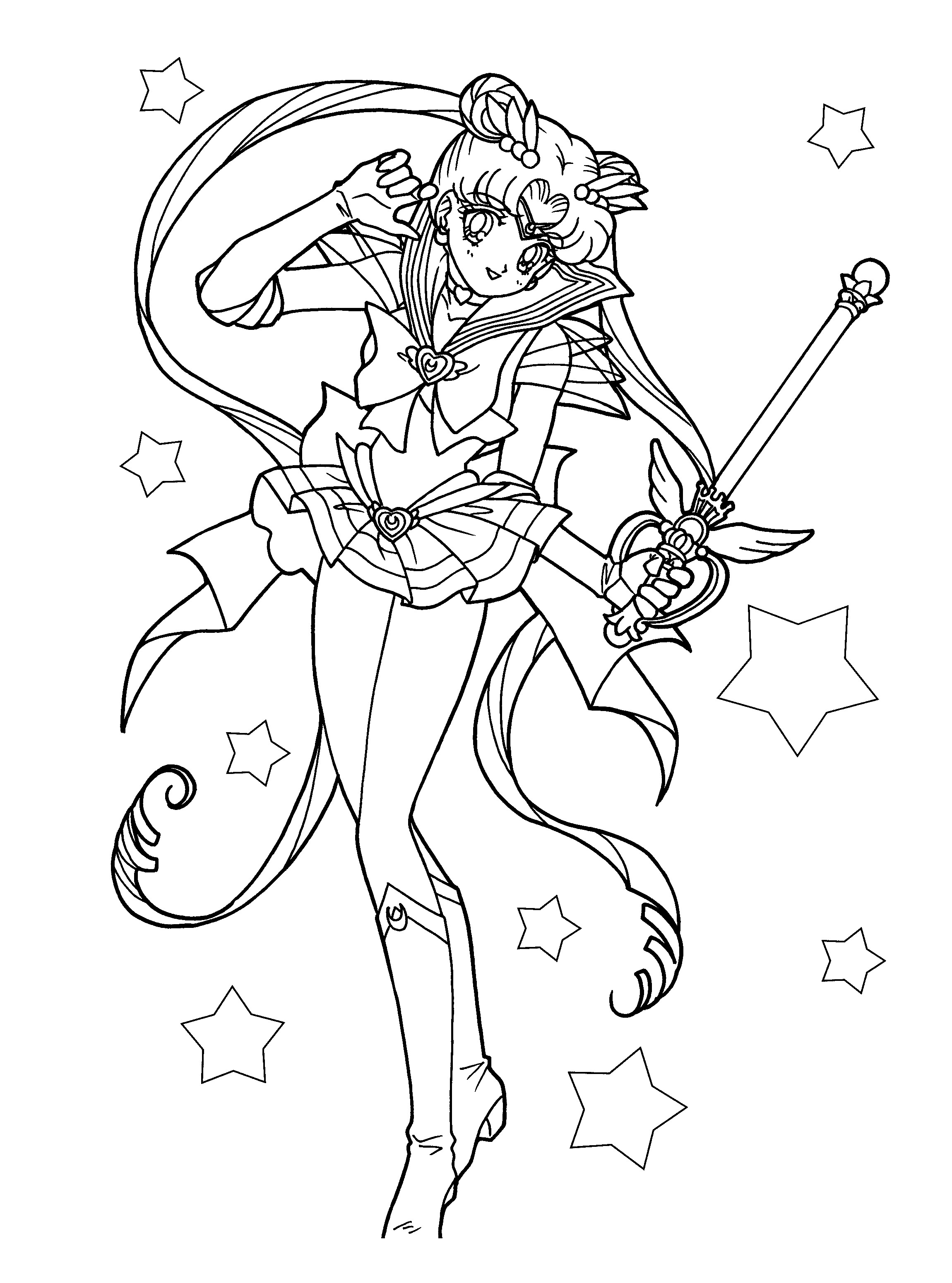 Sailor Moon printable coloring page - Coloring Library | 3100x2300