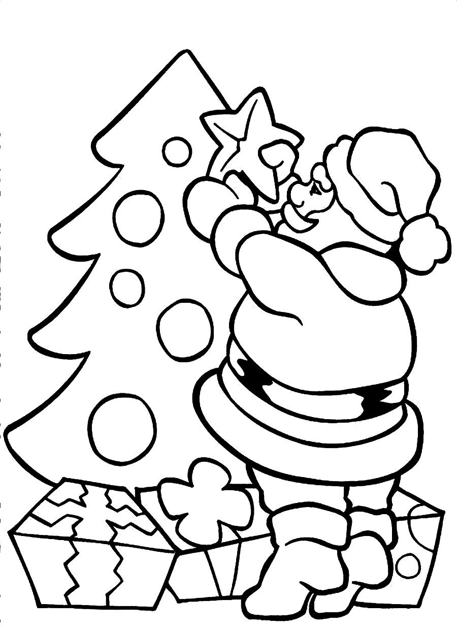 Printable Santa Claus Coloring Pages Coloring Me Tree With Santa Claus Coloring Page