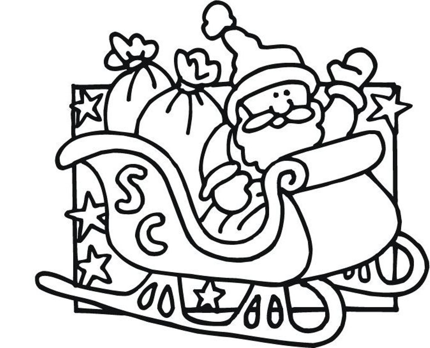 Santa Sleigh And Reindeer Coloring Pages For Kids