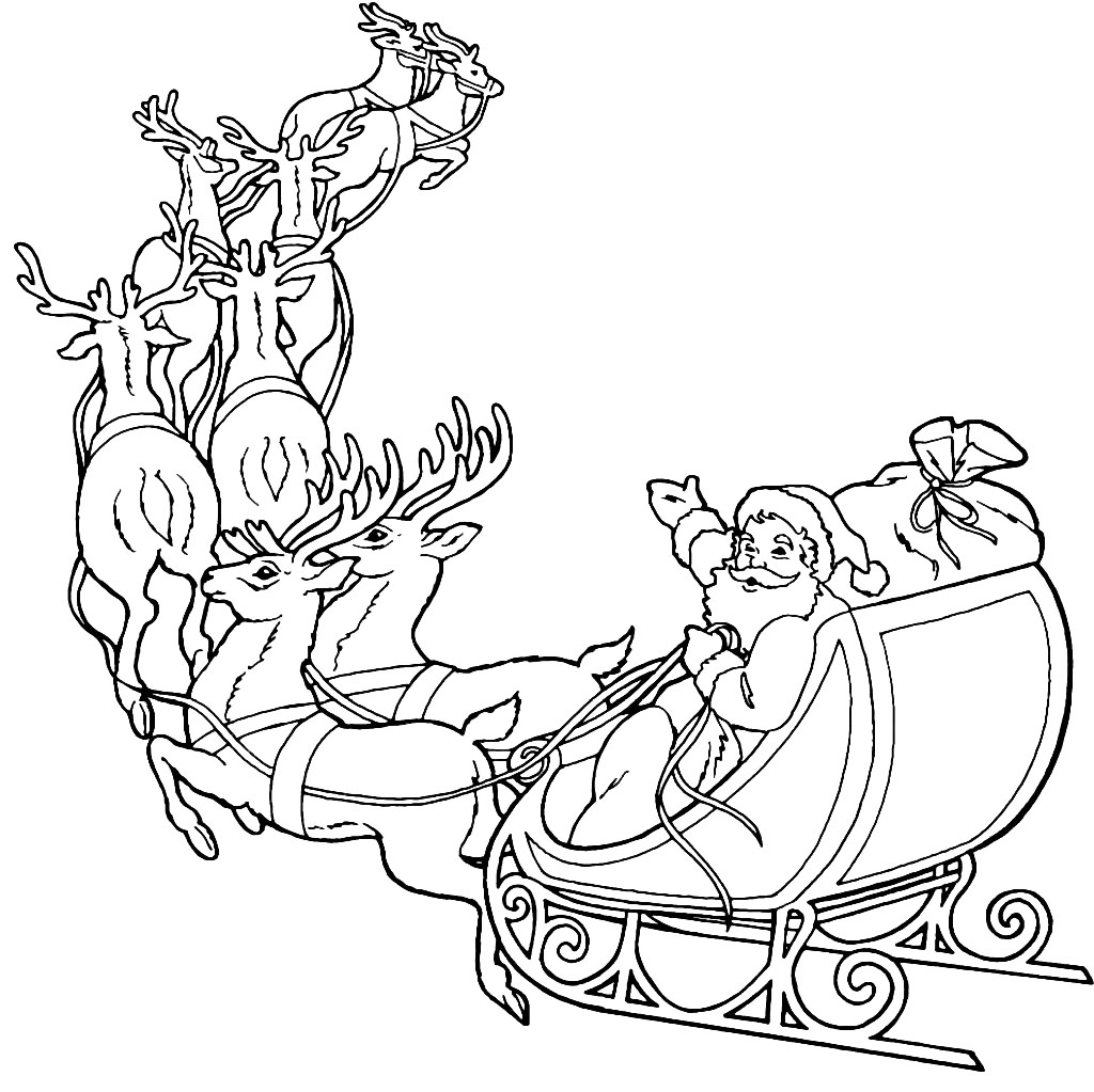 Search results for santa and reindeer coloring pages for Santa with reindeer coloring pages