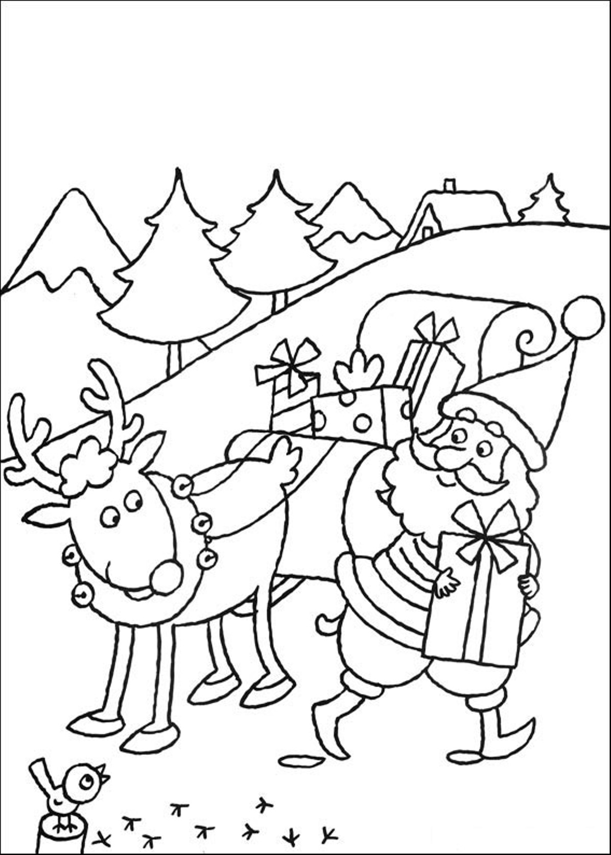 Christmas reindeer head coloring pages for Santa with reindeer coloring pages