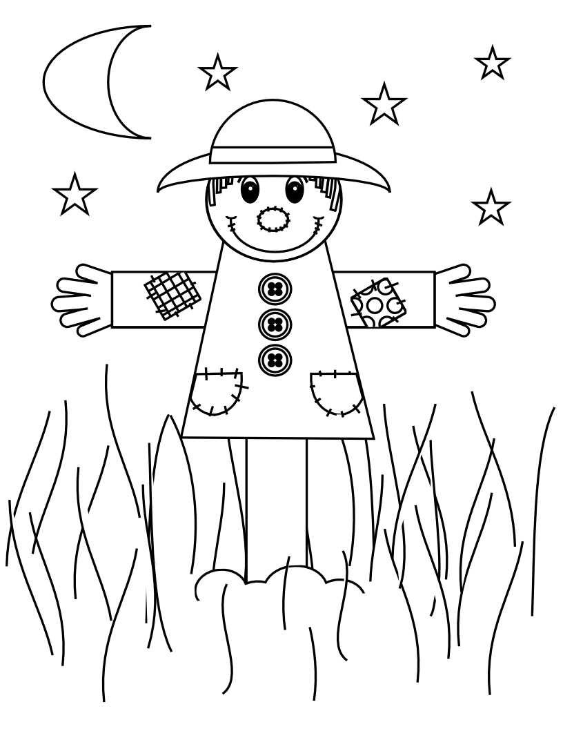scarecrow coloring pages for kids