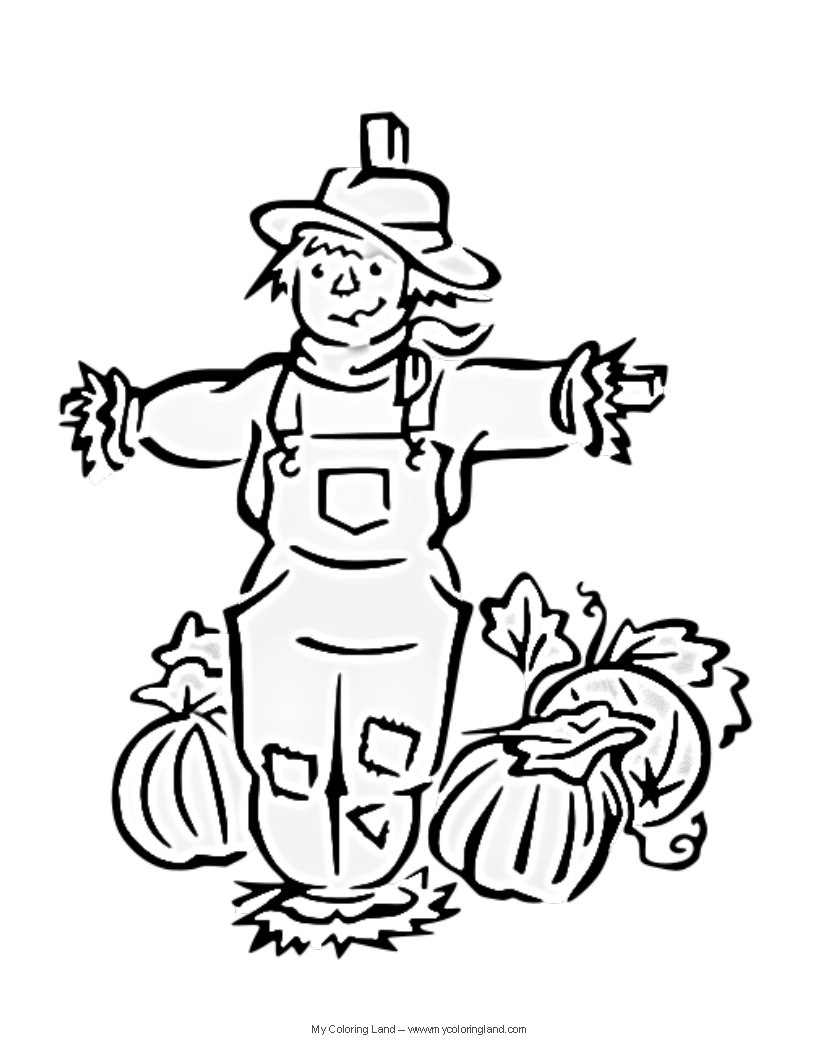 Free coloring pages scarecrows - Scarecrow Free Coloring Pages