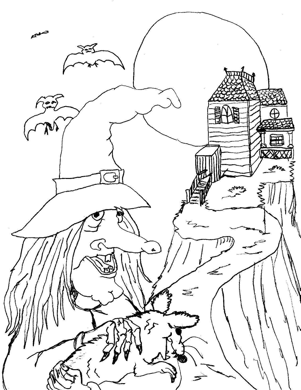 Printable Witch Coloring Pages Me Free Halloween Pag