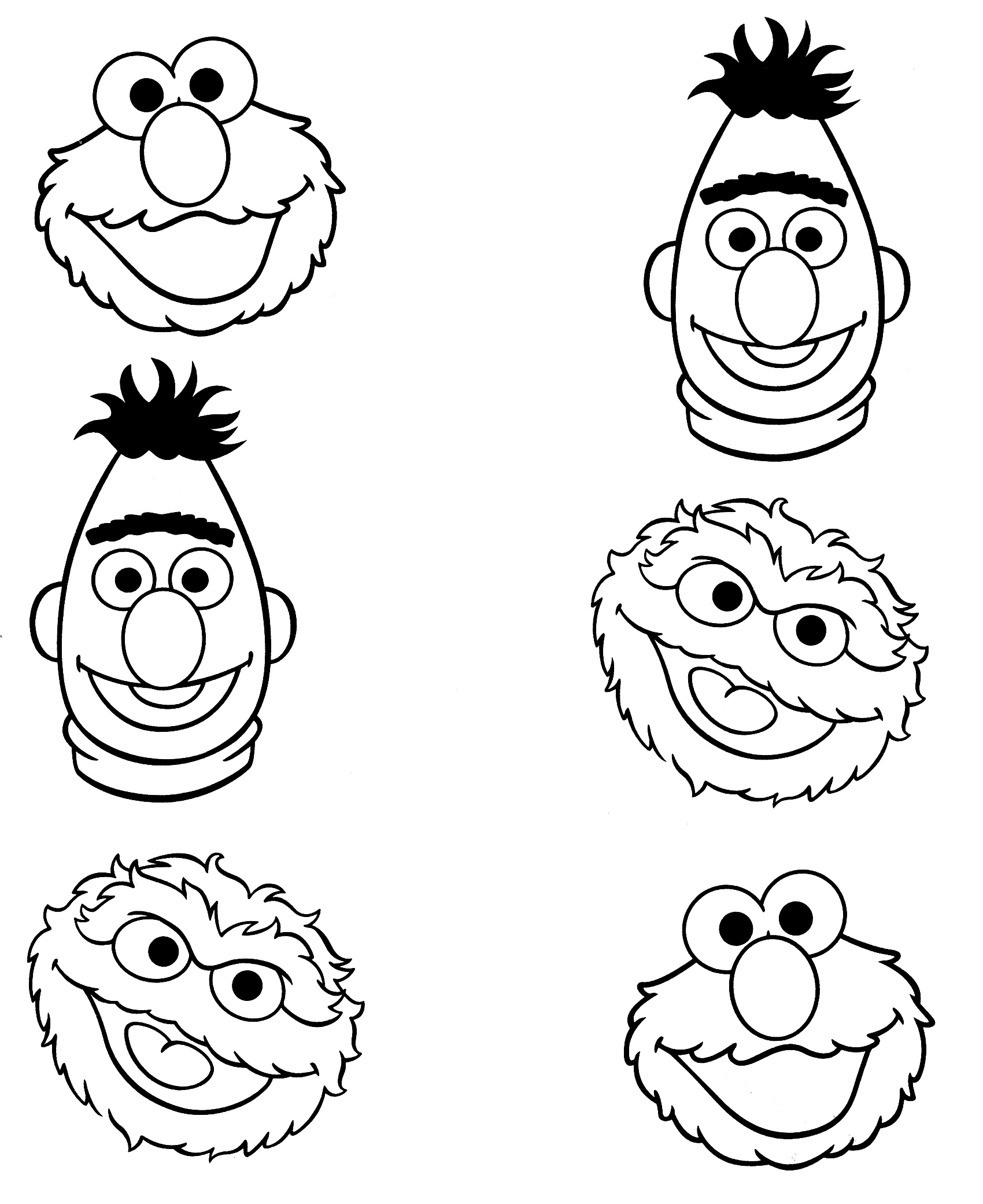 sesame street character face coloring pages