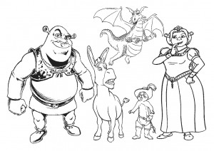 Shrek Characters Coloring Pages