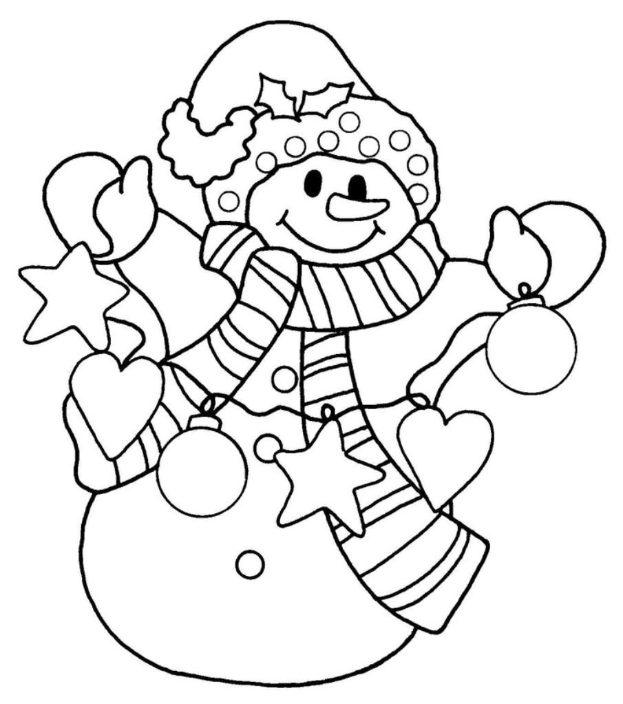 coloring pages and snowman - photo#4