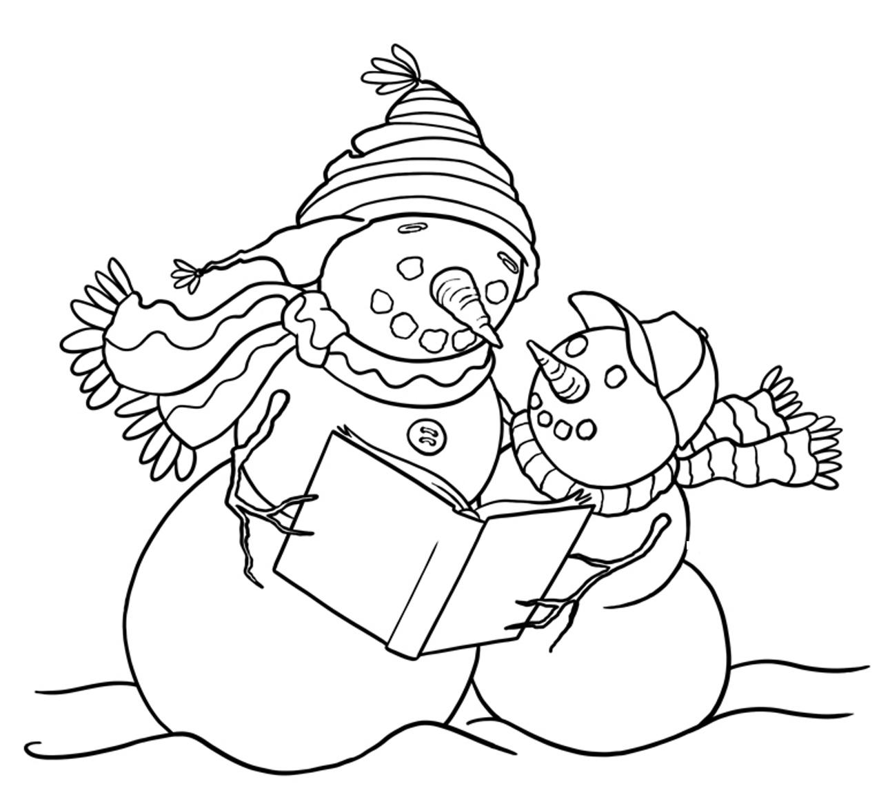 coloring pages and snowman - photo#27