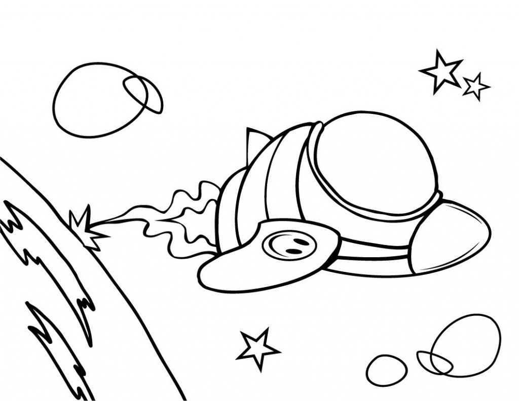 Free coloring pages aliens - Spaceship Printable Coloring Page