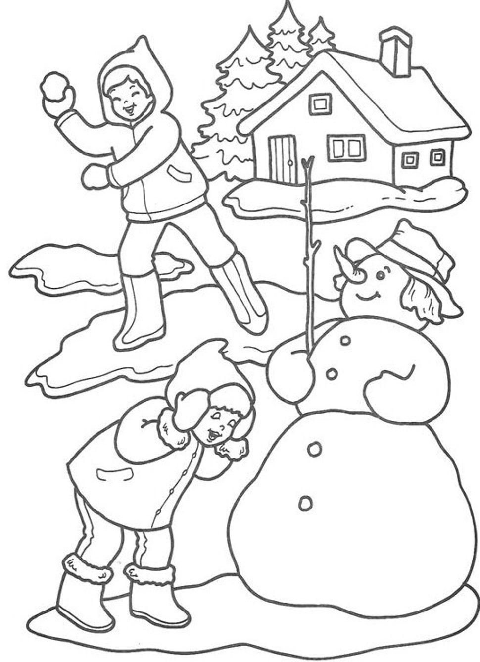 Free Snow Hat Coloring Pages