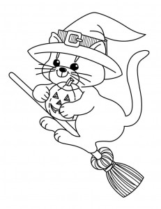 Witch Cat Coloring Pages