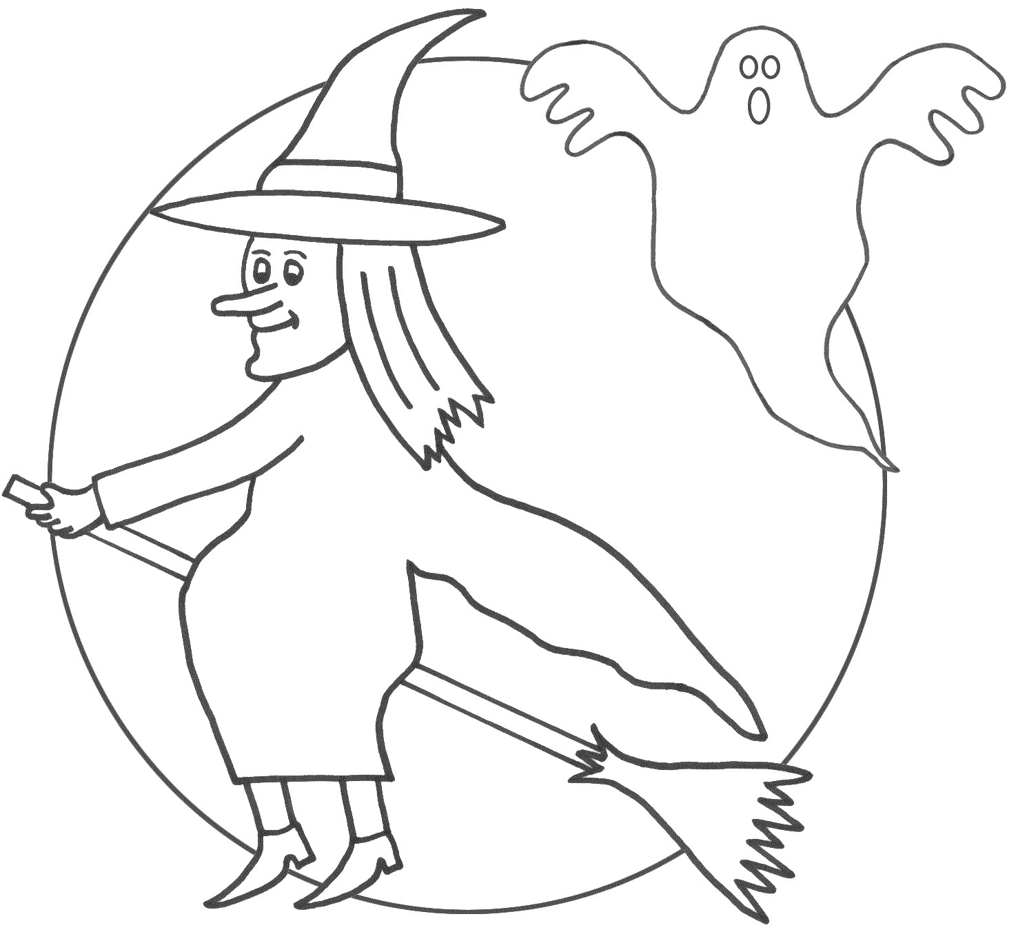 Moon coloring pages for preschoolers - Witch Coloring Pages Preschool