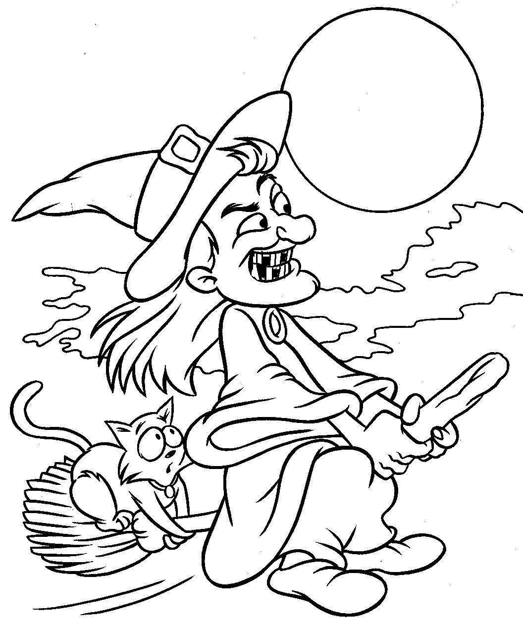 witch flying on broom coloring page