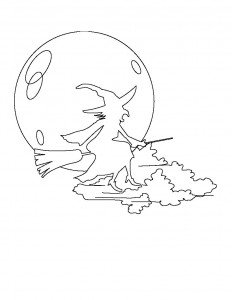 Witch and Moon Coloring Page