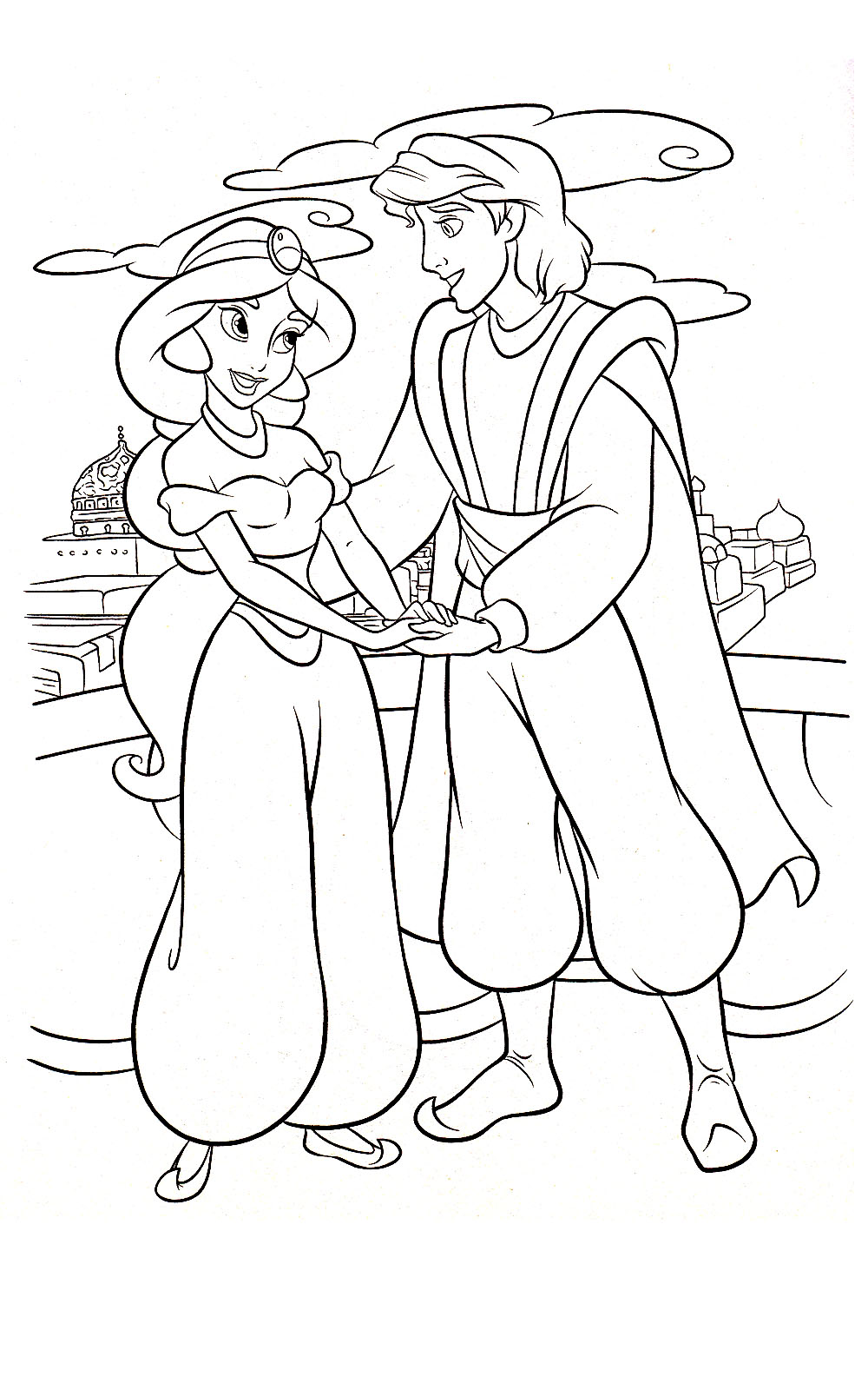 Princess jasmine colouring pages to print - Aladdin Coloring Sheets