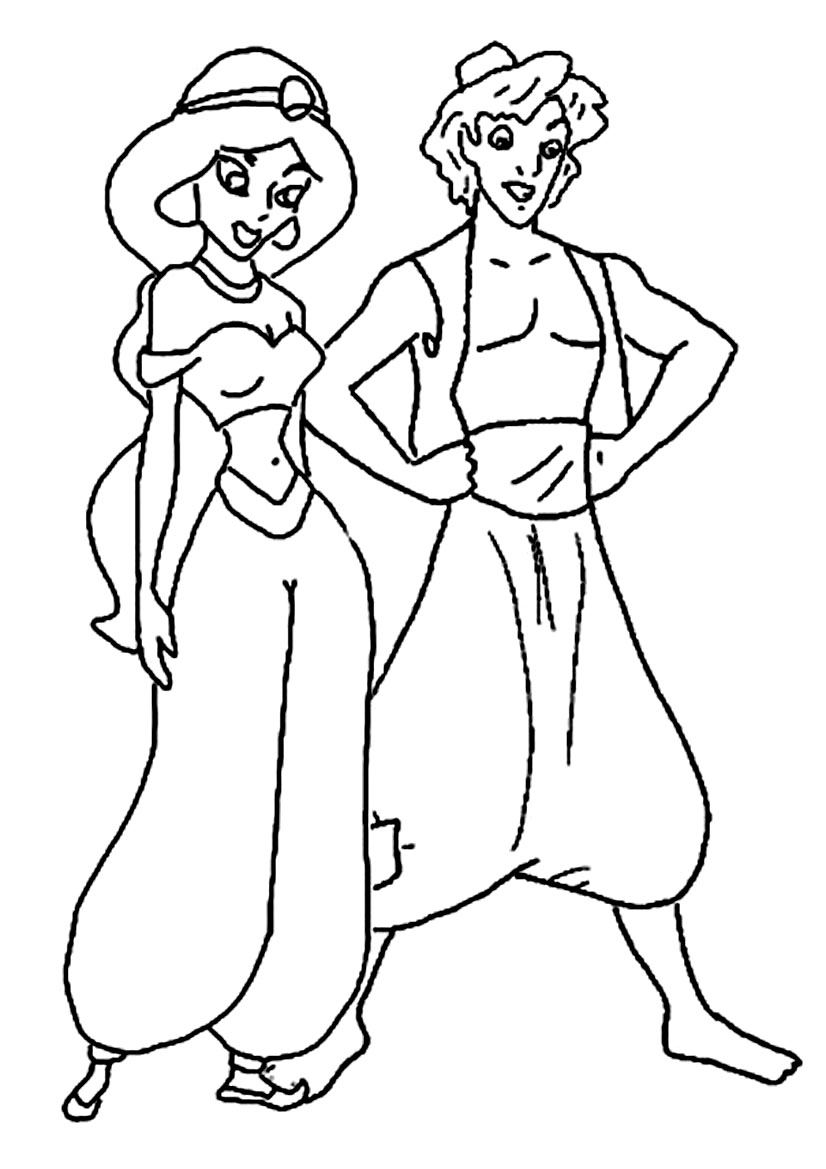 how to draw aladdin and jasmine on magic carpet
