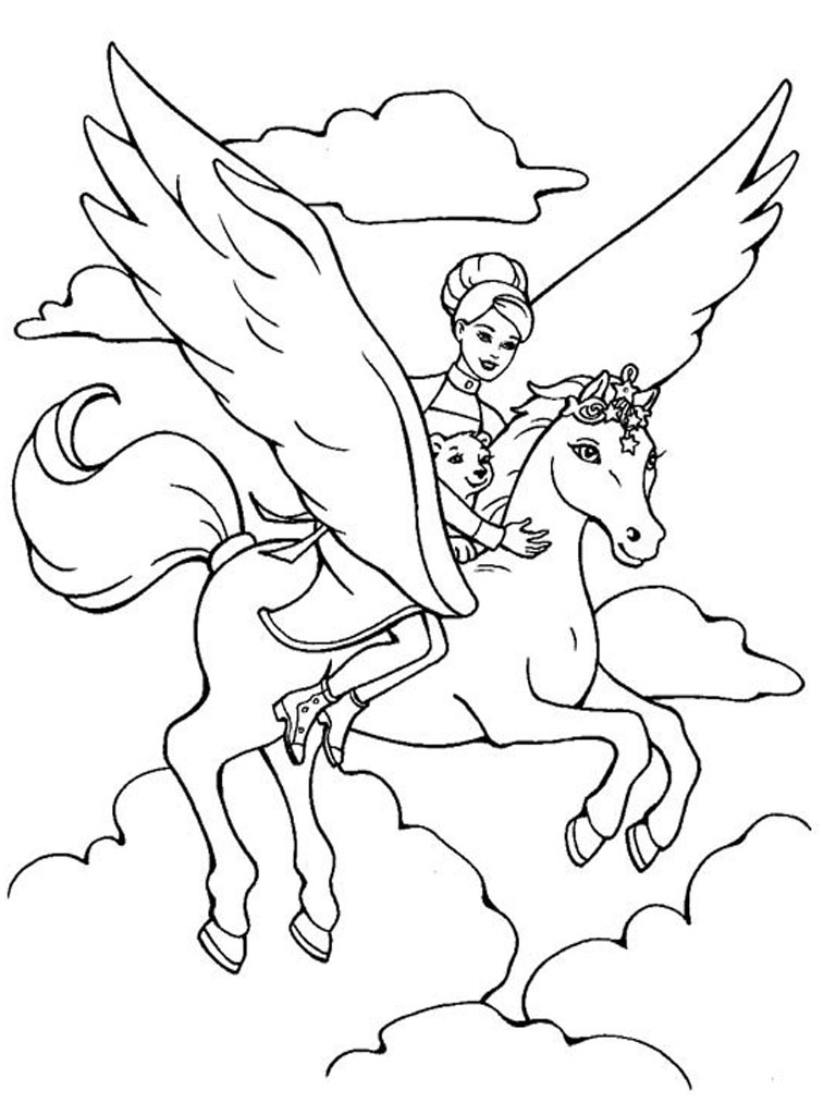 barbie pegasus coloring pages - Pegasus Coloring Page