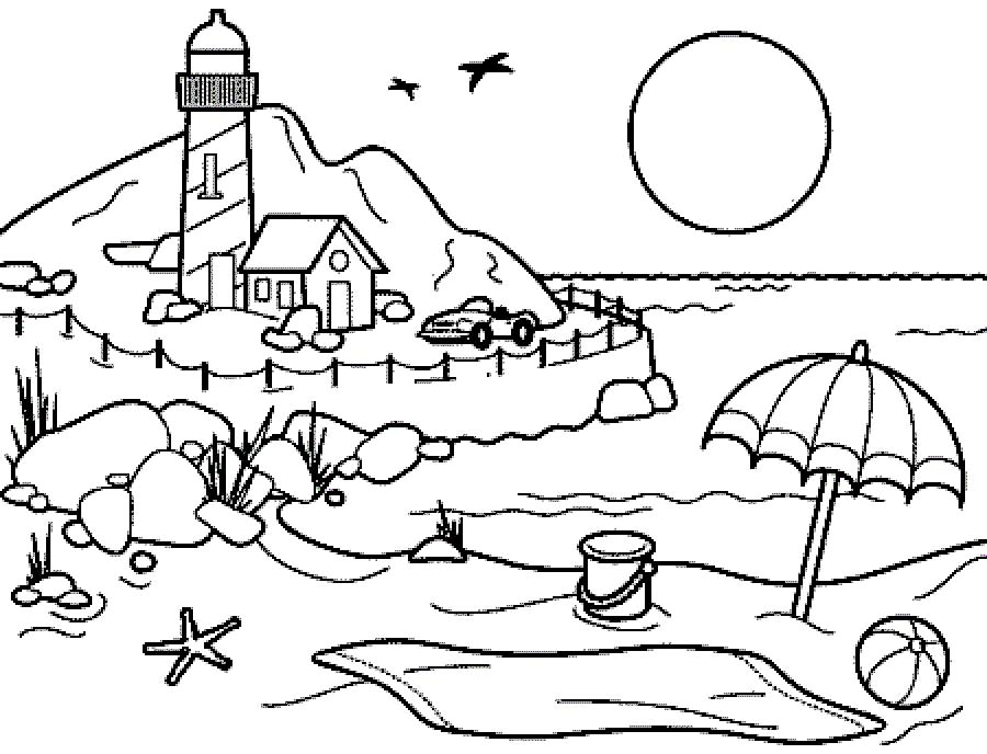 coloring pages and beach - photo#12