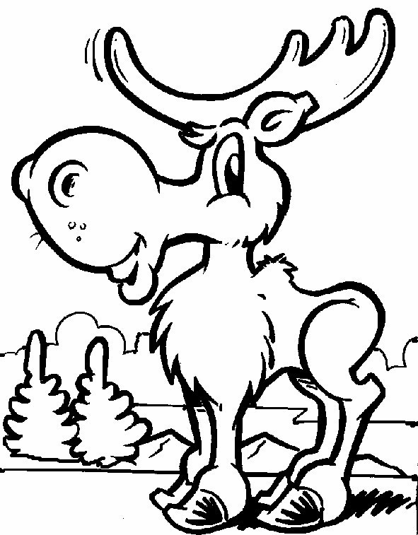 Cartoon Moose Coloring Pages