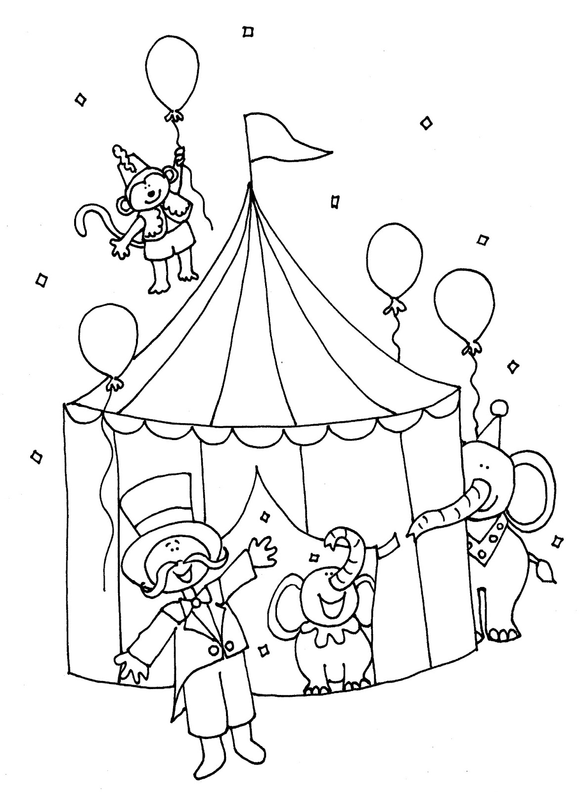 circus tent coloring pages preschool - photo#17