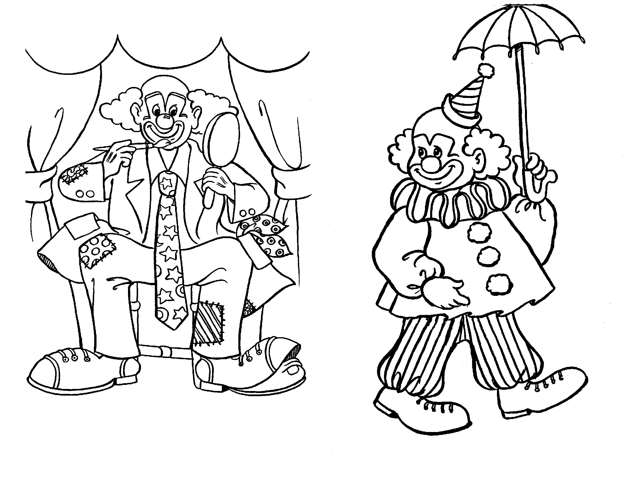 Printable clown coloring sheets murderthestout for Clowns coloring pages