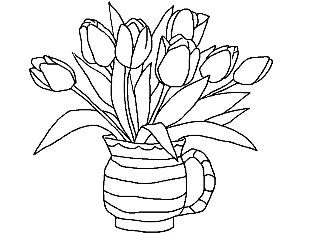 flower vase coloring page. Printable Tulip Coloring Pages Me  Vase coloring pages getcoloringpages com daisy flower vase Page for kids