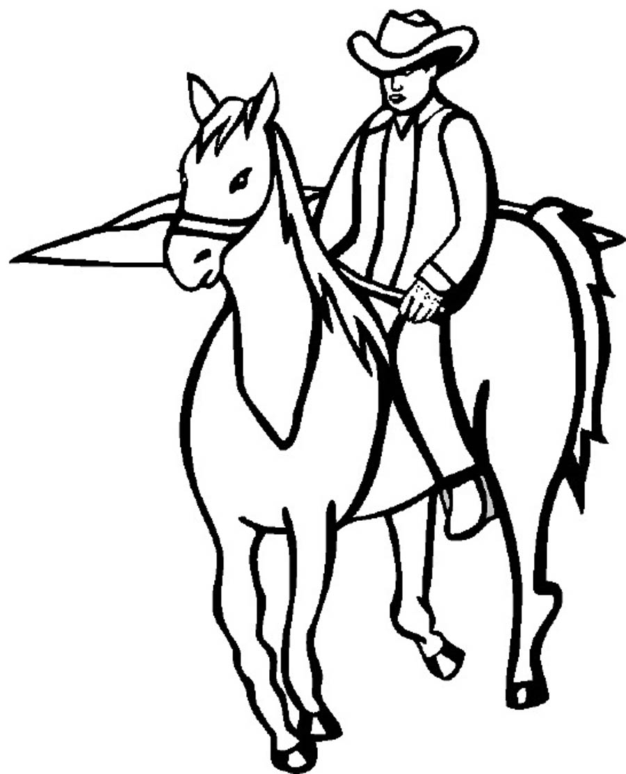 cowgirls and horses coloring pages - photo#9