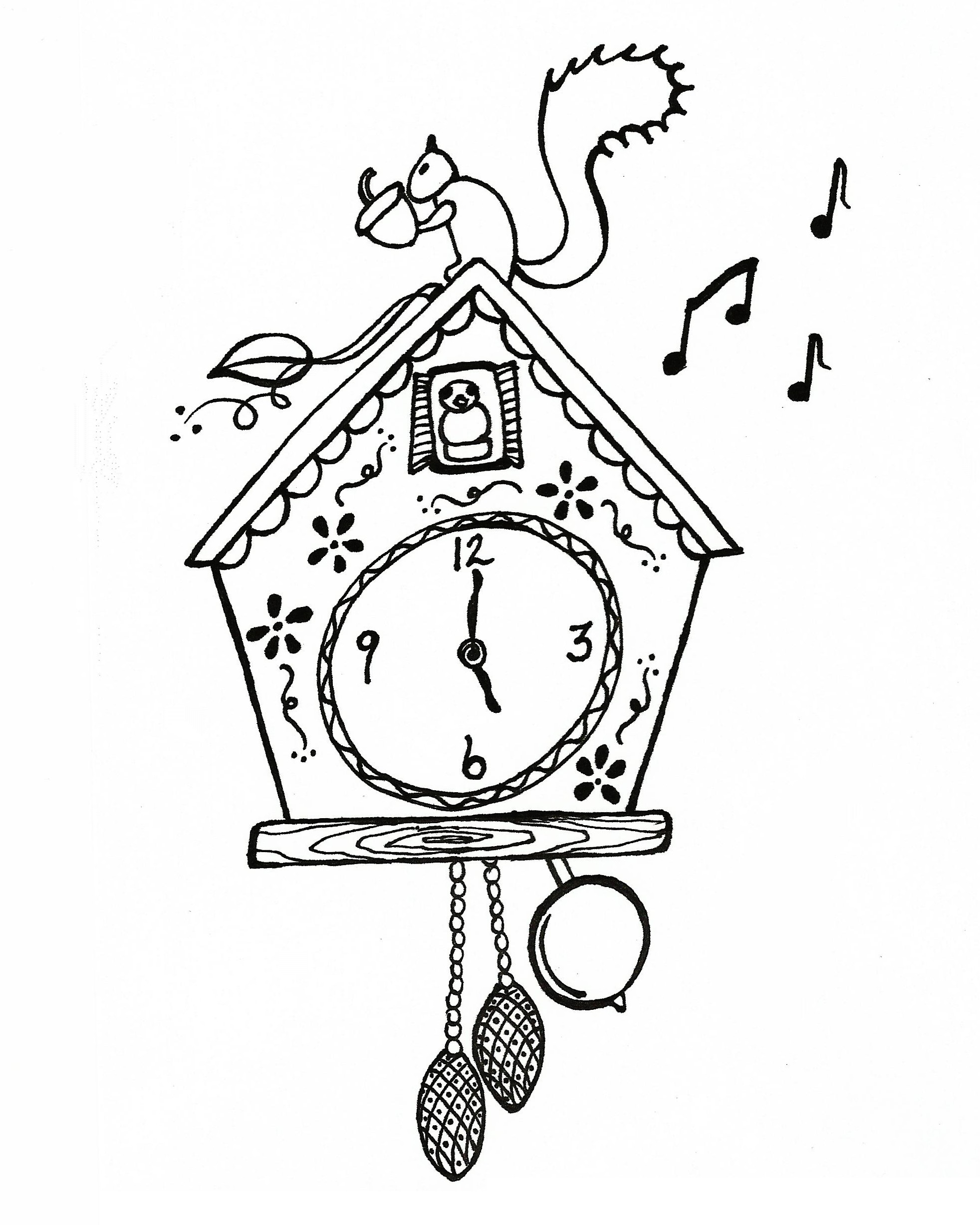 cuckoo clock coloring sheet coloring pages